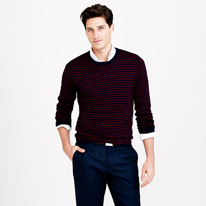 Slim merino wool sweater in thin stripe