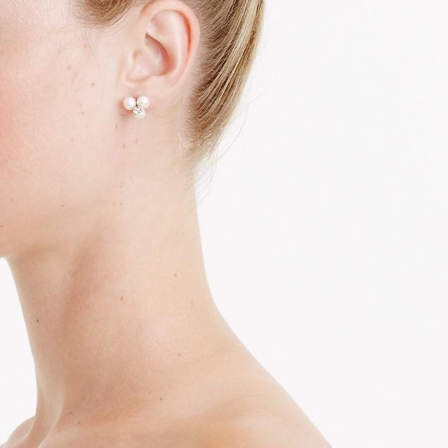 Freshwater pearl clover earrings