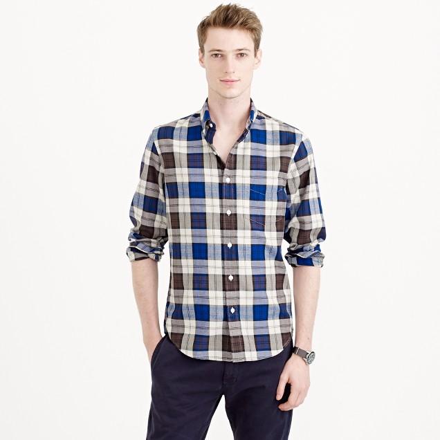 Slim Thomas Mason® for J.Crew flannel shirt in stone