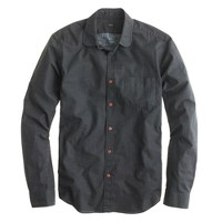 Slim cotton shirt in overdyed charcoal