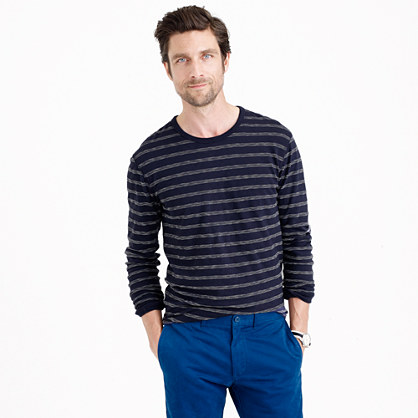 Tall long-sleeve textured cotton T-shirt in dark pacific stripe