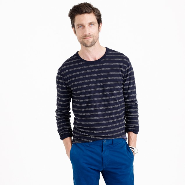 Long-sleeve textured cotton T-shirt in dark pacific stripe