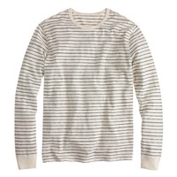 Long-sleeve textured cotton T-shirt in mountain white stripe