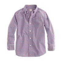 Boys' Secret Wash shirt in blue tattersall