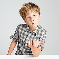 Kids' Secret Wash shirt in heather check
