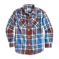 Boys' lightweight flannel shirt in blue plaid