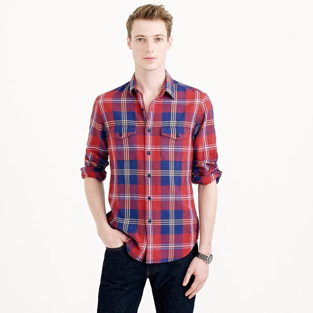 Herringbone flannel shirt in classic plaid