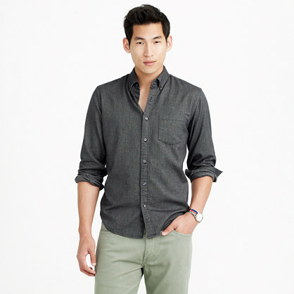Heather twill shirt in herringbone