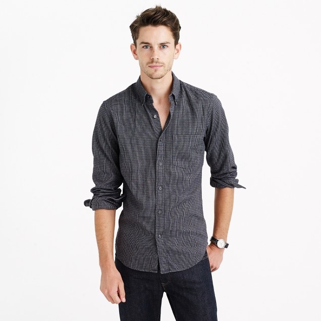 Heather twill shirt in houndstooth