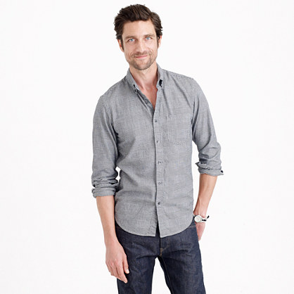 Slim soft heather twill shirt in glen plaid