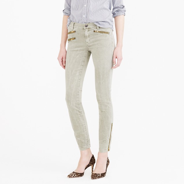 Sateen toothpick pant with zips