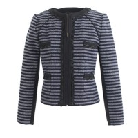 Cropped jacket in stripe tweed