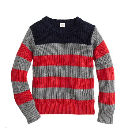 Boys' chunky cotton sweater in colorblock stripe