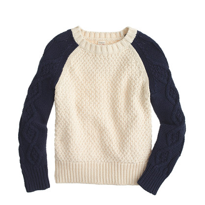 Boys' cable baseball sweater
