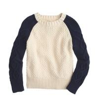 Boys' cable baseball sweater