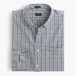 Slim jaspé cotton shirt in grey check