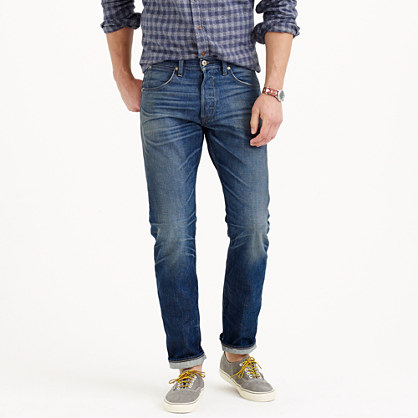 Wallace & Barnes slim selvedge jean in White Oak Cone Denim® with rustic indigo wash