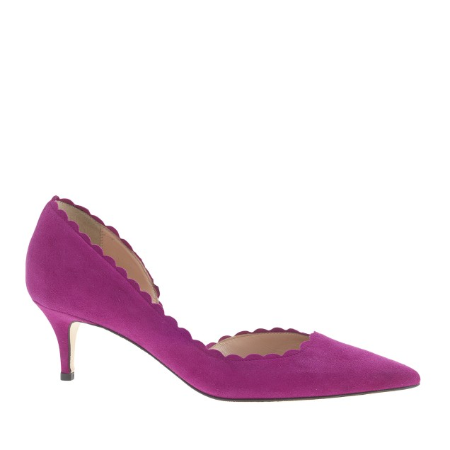 Dulci scalloped suede kitten heels