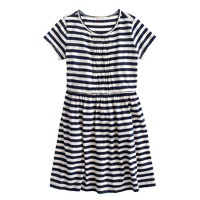 Girls' ruched T-shirt dress in stripe