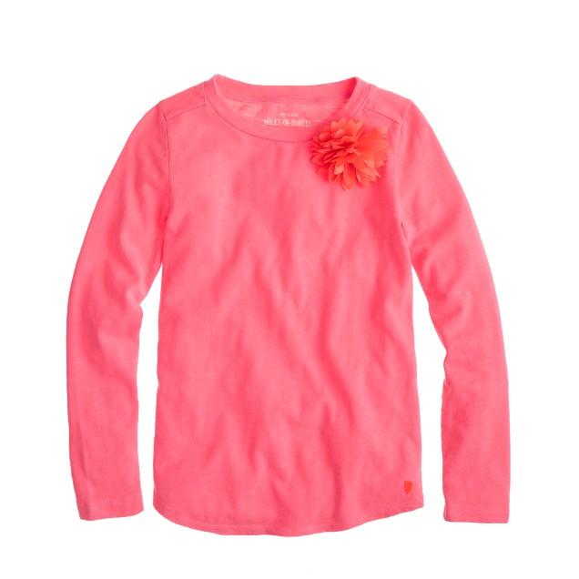 Girls' long-sleeve corsage T-shirt