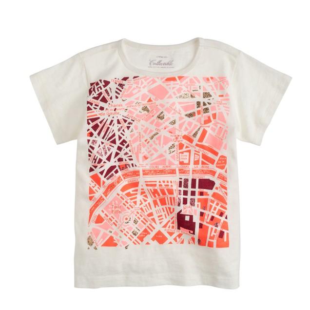 Girls' Paris street map T-shirt
