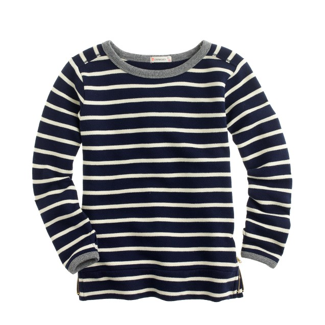 Girls' zip sweatshirt in stripe