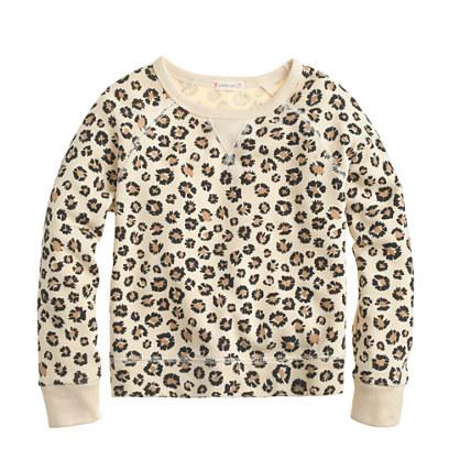 Girls' leopard sweatshirt