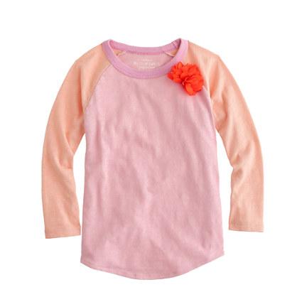Girls' corsage baseball T-shirt