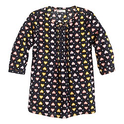 Girls' pleated bib tunic in heart dot