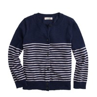 Girls' stripe cardigan sweater