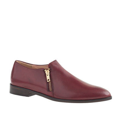 Leather double-zip loafers