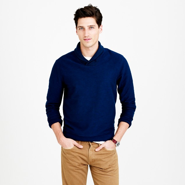 Twill knit shawl-collar pullover
