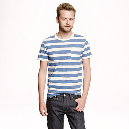 Faded cotton T-shirt in blue stripe