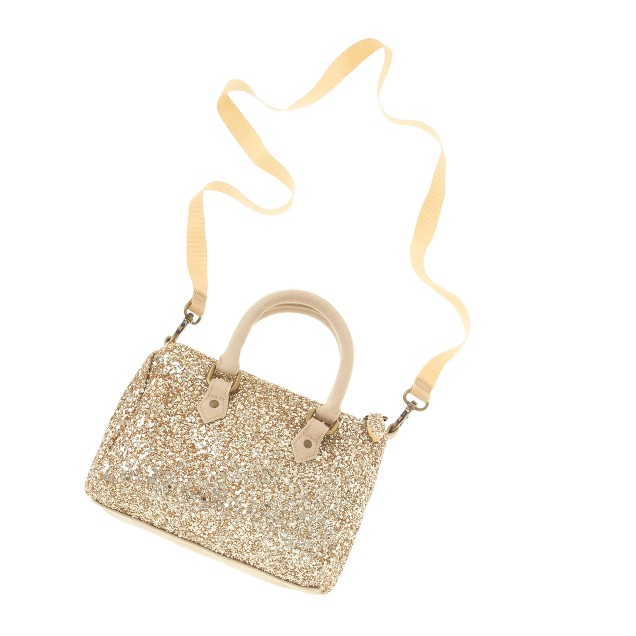 Girls' classic glitter bowler bag