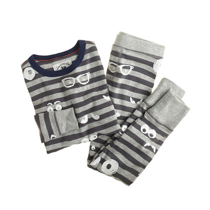 Boys' glow-in-the-dark pajama set in googly eyes