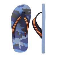 Kids' camo flip-flops in blue
