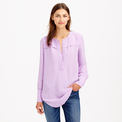 Covered-button crepe blouse