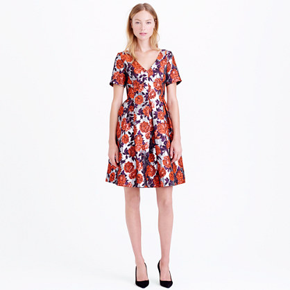 Collection metallic floral jacquard dress