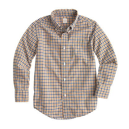 Boys' Secret Wash shirt in blue and yellow tattersall