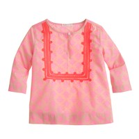 Girls' neon embroidered medallion tunic