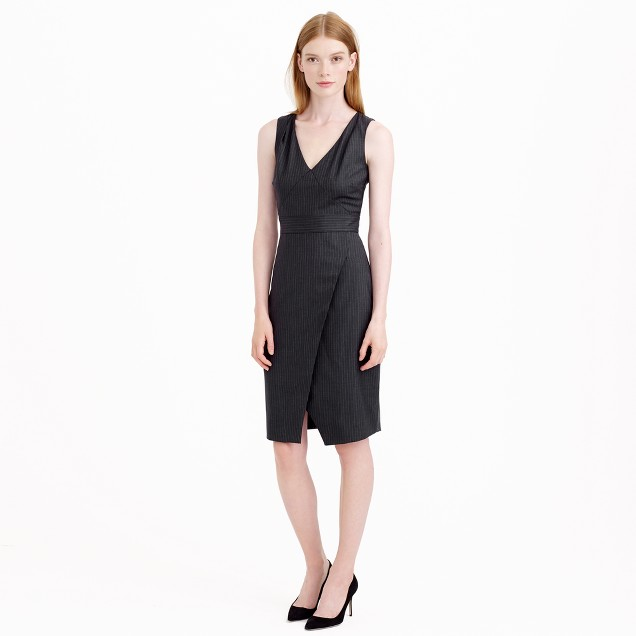 Angie dress in pinstripe Super 120s wool