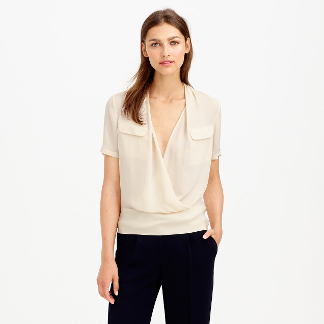 Collection draped silk popover shirt