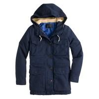 Sherpa-hooded parka
