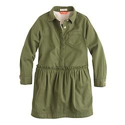 Girls' long-sleeve military shirtdress
