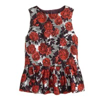 Collection metallic floral peplum top