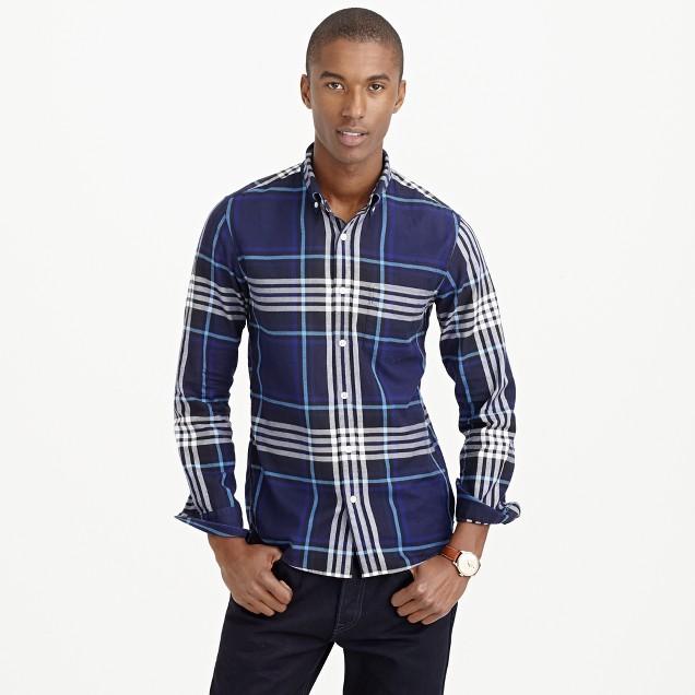 Thomas mason for j crew flannel shirt in midnight plaid for Thomas mason dress shirts
