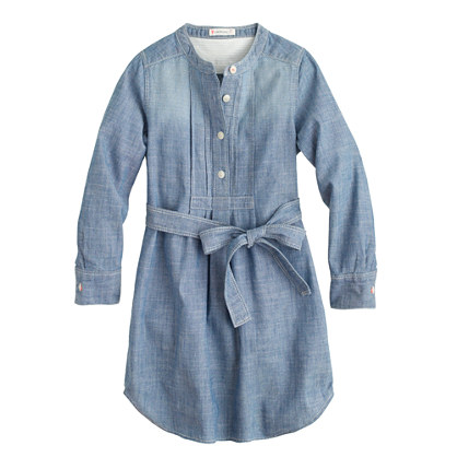Girls' tuxedo chambray shirtdress