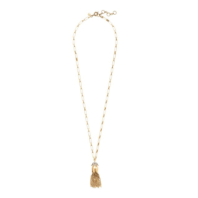 Flower bud tassel pendant necklace