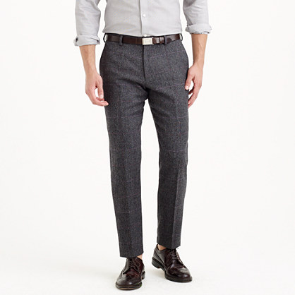 Crosby suit pant in herringbone windowpane English wool