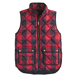 Excursion quilted vest in buffalo check